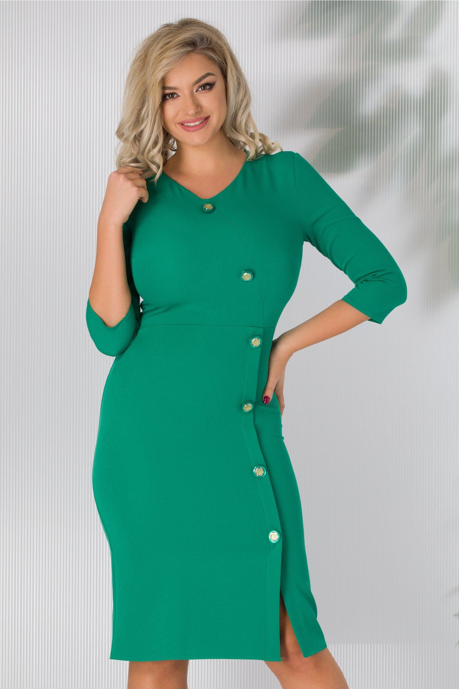 Rochie Roxy verde cu nasturi fantezie