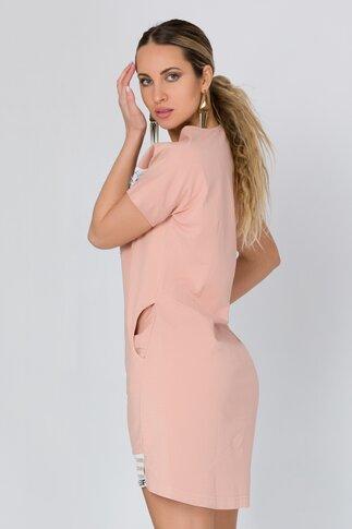 Rochie roz casual cu paiete si strasuri