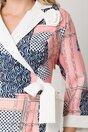 Rochie roz cu imprimeu divers si aplicatie tip trandafir