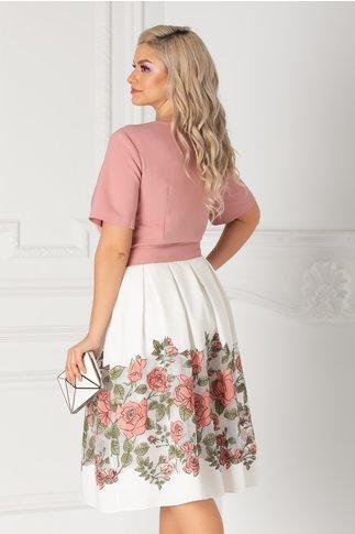 Rochie roz pudrat cu imprimeu floral la baza