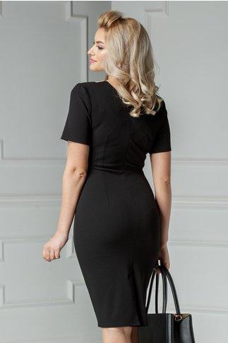 Rochie Roza eleganta negru cu bej si imprimeu