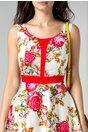 Rochie Rozalia clos alba cu motive florale traditionale