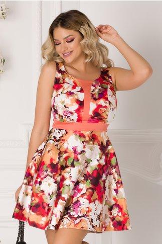 Rochie Rozalia cu imprimeu floral colorat fara maneci