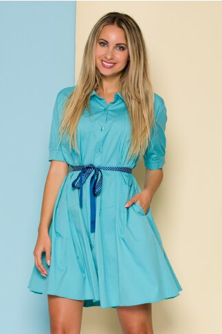 Rochie Ruxy bleu tip camasa cu cordon in talie