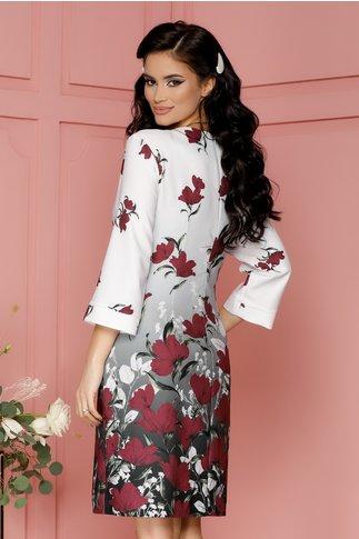 Rochie Sabrina alba cu imprimeuri florale magenta