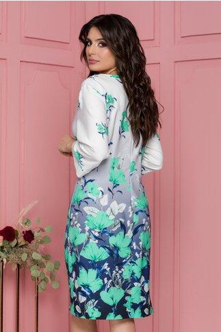 Rochie Sabrina alba cu imprimeuri florale verzi