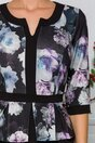 Rochie Sabrina bleumarin cu bust gri-lila si flori