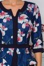 Rochie Sabrina bleumarin cu orhidee la bust