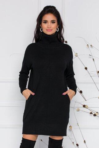 Rochie Sabrina din tricot neagra cu buzunare si guler inalt