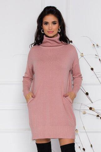 Rochie Sabrina din tricot roz cu buzunare si guler inalt