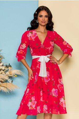 Rochie Sabrina din voal rosu zmeura cu imprimeuri florale