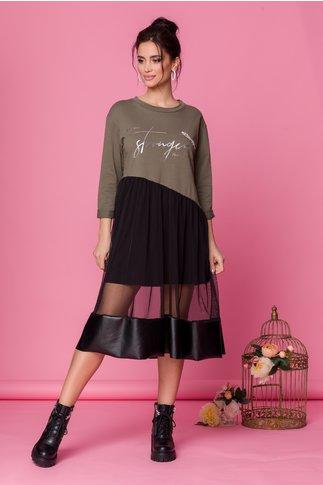 Rochie Sabrina kaki cu fusta din tull negru