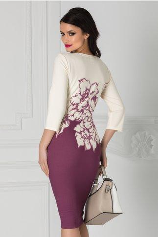 Rochie Sabrina lila si ivory cu imprimeu floral