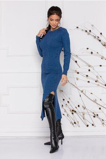 Rochie Sabrina midi albastra din tricot cu design impletit