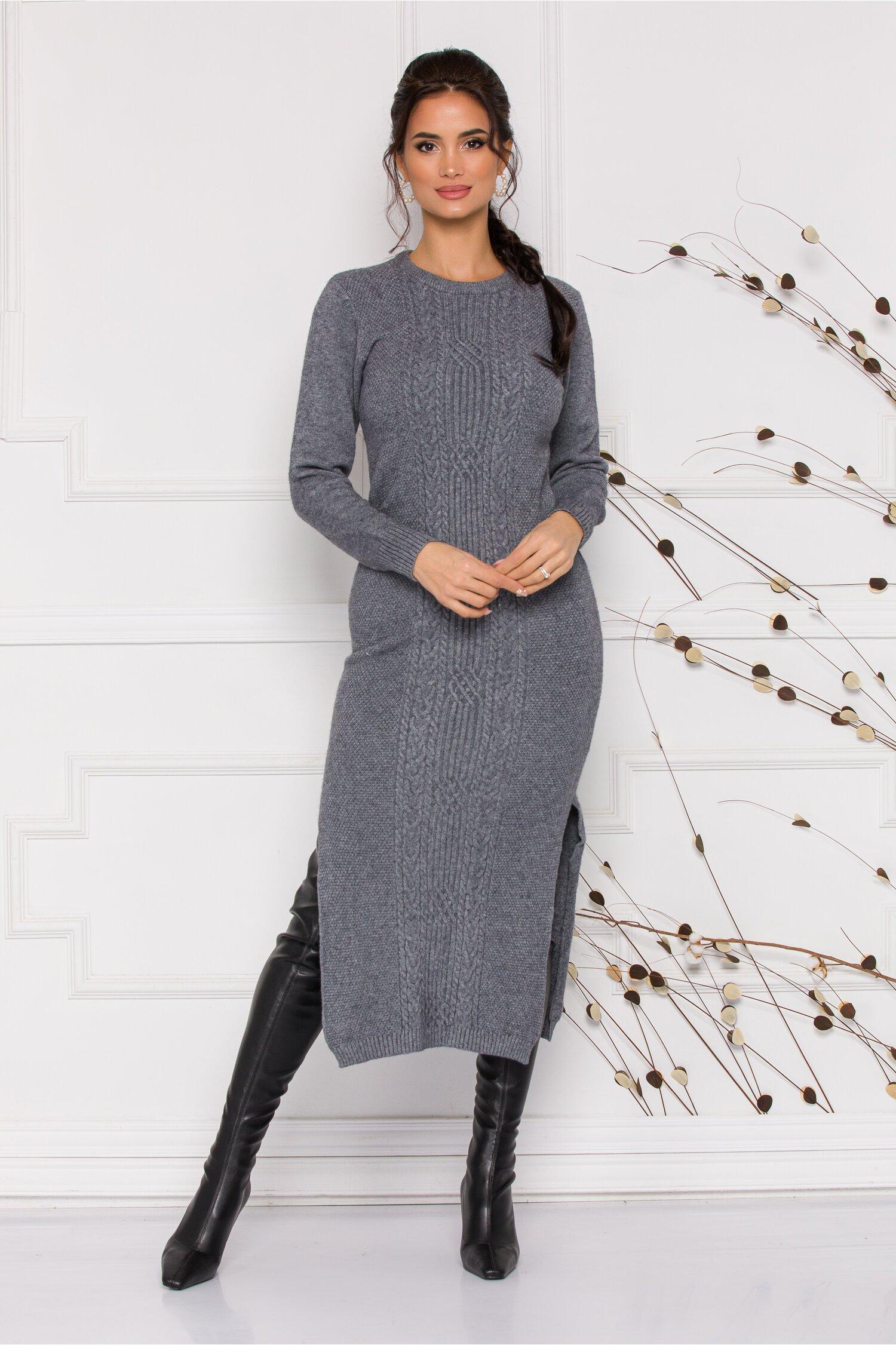 Rochie Sabrina midi gri din tricot cu design impletit imagine