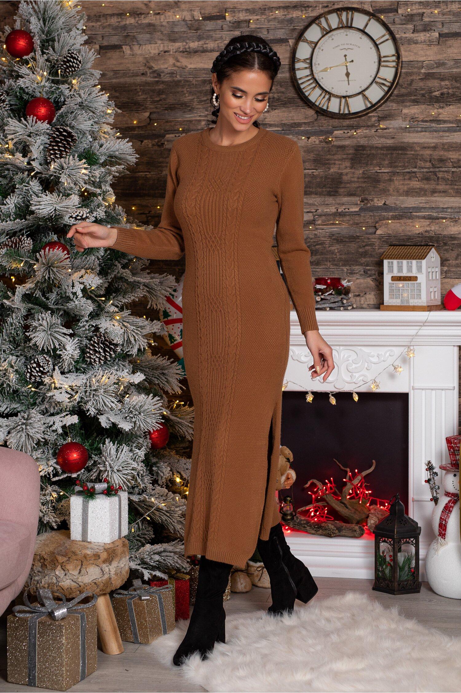 Rochie Sabrina midi maro din tricot cu design impletit imagine