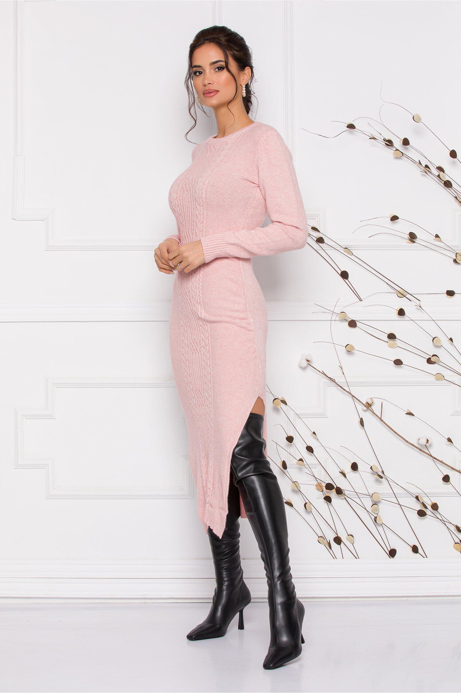 Rochie Sabrina midi roz din tricot cu design impletit imagine