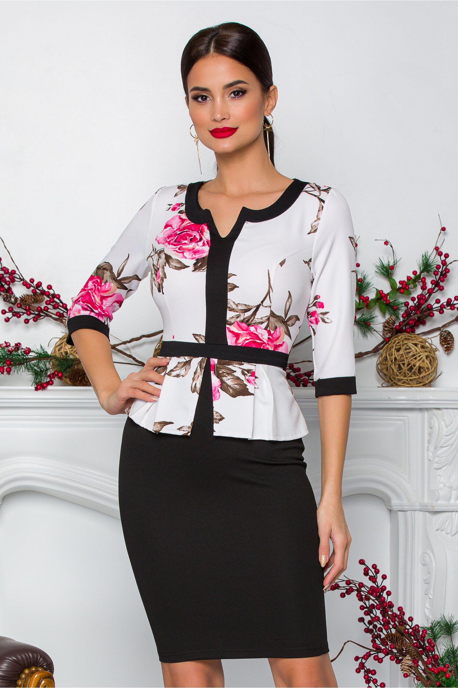 Rochie Sabrina neagra cu bust alb si flori roz