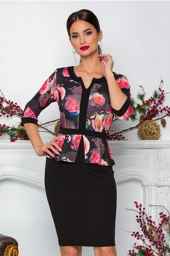 Rochie Sabrina neagra cu imprimeuri florale roz-somon