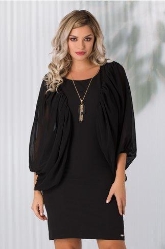 Rochie Sabrina neagra eleganta cu maneci maxi din voal