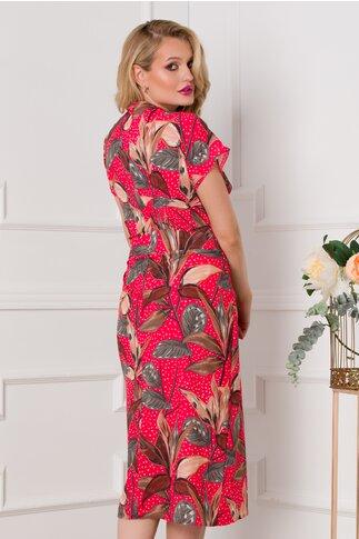 Rochie Sabrina rosie cu buline si flori