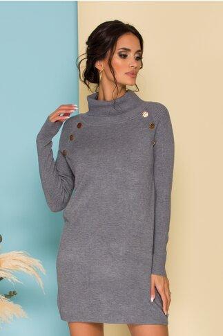 Rochie Sabrina tricotata gri cu nasturi