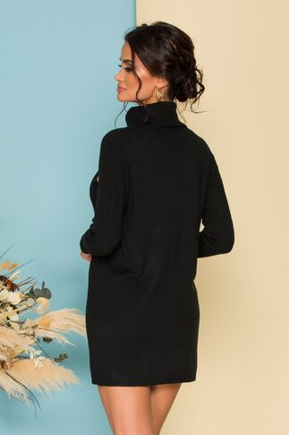 Rochie Sabrina tricotata neagra cu nasturi