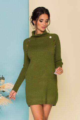 Rochie Sabrina tricotata olive cu nasturi