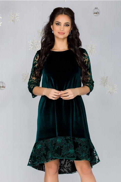 Rochie Sabrina verde din catifea cu decupaje florale din tull
