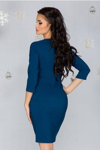 Rochie Safiya albastru petrol cu design petrecut