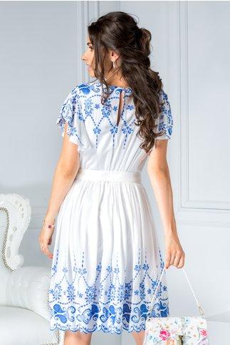Rochie Saidi alba de zi cu broderie albastra eleganta