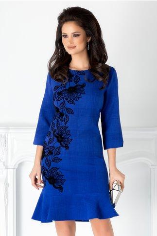 Rochie Saly albastru indigo cu motive florale catifelate