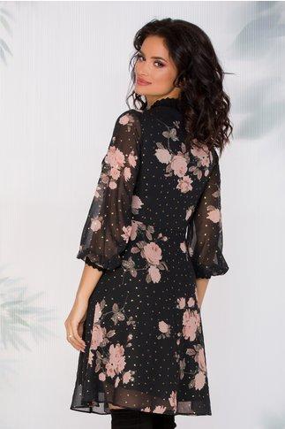 Rochie Saly din voal neagra cu imprimeu floral
