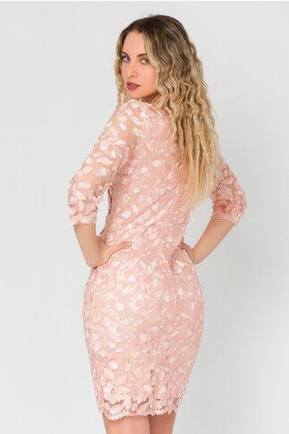 Rochie Sami roz din tull brodat