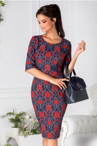 Rochie Samia neagra cu motive florale rosii
