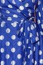 Rochie Samira albastra cu buline si design petrecut