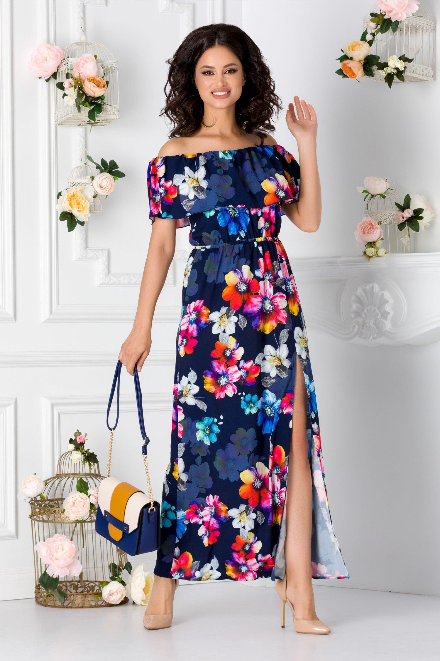 Rochie Samira Lunga Bleumarin Cu Imprimeu Floral