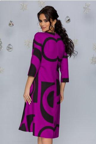 Rochie Samira mov cu imprimeuri geometrice negre