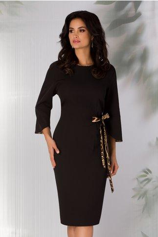 Rochie Samira neagra cu cordon pe o parte
