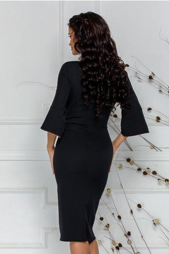 Rochie Samira neagra cu cordon pe o parte si detalii galbene