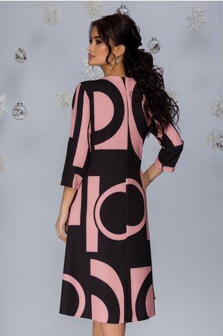 Rochie Samira neagra cu imprimeuri geometrice roz