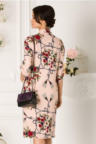 Rochie Samira roz cu imprimeu floral si buzunare
