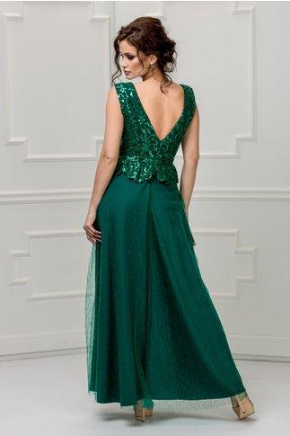 Rochie Samira verde de seara cu paiete