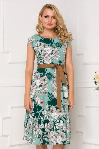Rochie Samira vernil cu imprimeuri florale si cordon in talie