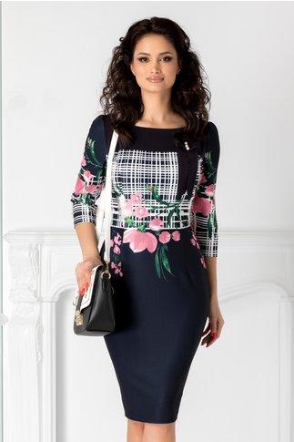 Rochie Sandra bleumarin cu imprimeu floral