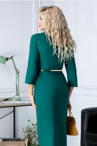 Rochie Sany office verde cu decolteu petrecut si curea aurie in talie