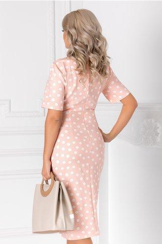 Rochie Sany petrecuta roz pal cu buline albe