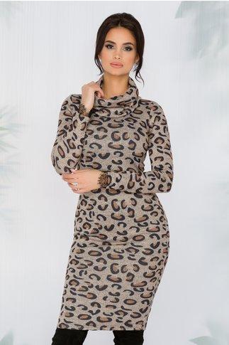 Rochie Sara bej cu imprimeu leopard