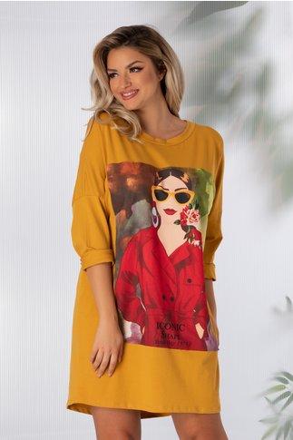 Rochie Sara casual galben cu imprimeu