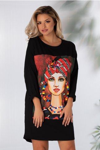 Rochie Sara casual neagra cu imprimeu modern